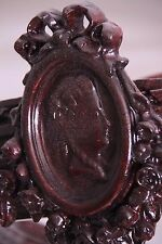 19C French Carved Walnut Marie Antoinette Cameo Overbed-of-Roses Canopy