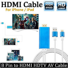 2M Lightning 8Pin to HDMI Cable 1080P HDTV Digital AV Adapter Output iPhone iPad