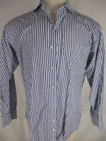 Gitman Bros Mens Blue Stripe Cotton Spread Collar Dress Shirt 15.5-34