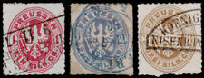 Germany - Prussia Scott 17, 18, 20 (1861) Used H F-VF