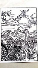 Hans Holbein original the praise of folly woodblock 1850  the battle
