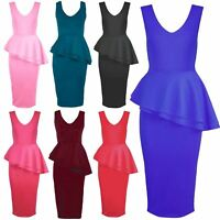 Womens Ladies Side Slant Sleeveless Frill Peplum Pencil Skirt Midi Bodycon Dress