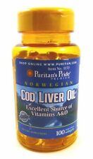Norwegian Cod Liver Oil 415 mg 100 Softgels Vitamin A, Vitamin D Eye Health Bone