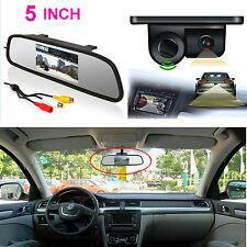 "5"" Car Reverse Rear View Mirror Display Monitor+ Backup HD Camera & Radar Sensor"