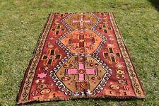 4.5x7.5 ft Anatolische Türkischer Region Kelim Teppich Oushak Handmade