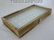 Rustic Antique Oak Color Glass Top Display Case With 36 Gem Jars Wht