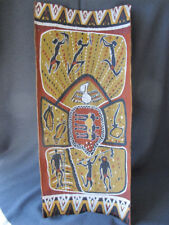 Vintage Aboriginal Australia Bark Painting    26 inches tall