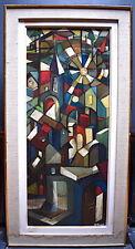 Paysage village Morteau Doubs cubiste style vitrail signé M Masoni XX ABSTRAIT