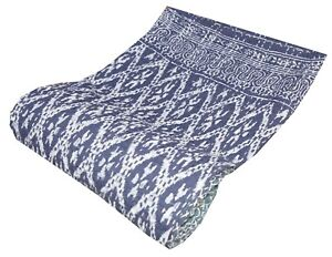Indian Indigo Print Single Kantha Handmade Quilt Cotton Bed Cover Throw