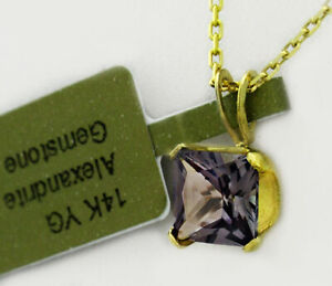 AAA  ALEXANDRITE 1.23 Cts  PENDANT NECKLACE 14K YELLOW GOLD * New With Tag *