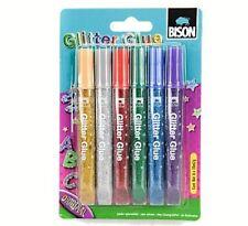 6 Tubes Colle à Paillette Coloriage Dessin Kids Créative Glitter Glue BISON NEUF