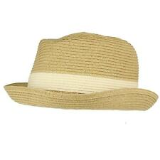 Men's Summer Upturn Curl Brim Retro Pork Pie Derby Fedora Hat Natural M/L 57cm