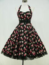 Robe 190 Noir Plus Size Floral Dos-nu 50 S rockabilly Prom Party Dress 22-24