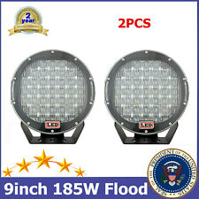 """2X 9""""inch 185W LED Work Light Round Flood Black Lamp Driving Vehicle Tractor RZR"""