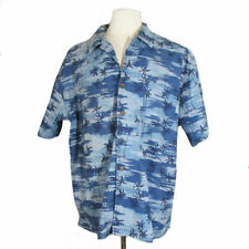 Eddie Bauer Sz: Xl, Cotton Hawaiian Aloha Tropical Print Blue Short Sleeve Shirt