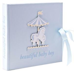 Baby Photo Album - 4'x6' - Carousel Design - Blue Baby Boy