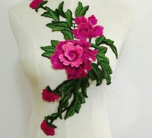 Large Fuchsia Green Embroidered 3D Applique Flower Patch Sew On DIY Leaf Vine