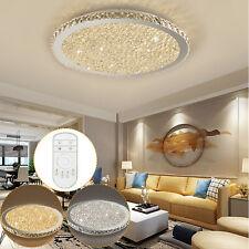 Modern Crystal LED Ceiling Light Round Lighting Chandelier Bedroom Lamp + Remote