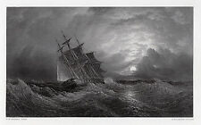 Oswald Walters Brierly Antique Engraving H.M.S. Galatea In the Storm SIGNED COA