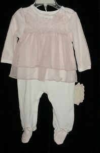 NWT Baby Biscotti Girls White W/ Pink Tulle Lace Overlay Footed Romper  6 Months