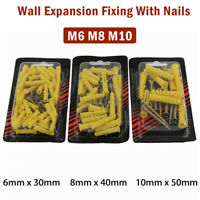 30/40/50mm Yellow Plastic Expansion Plug Pipe Anchor Wall Screw Tube