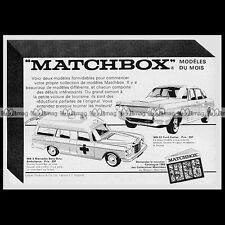 MATCHBOX Lesney FORD ZODIAC (53) MERCEDES BENZ AMBULANCE (3) 1968 Pub / Ad #B445