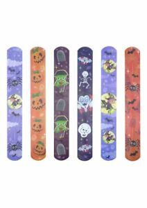 6 Halloween Snap Bracelets - Kids Wrist Slap bands Party Bag Filler Toy Gift