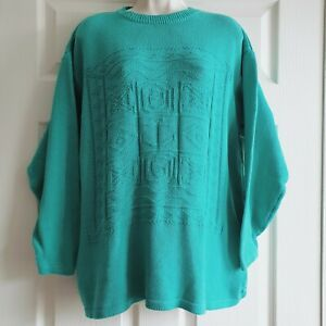 Vintage c.1980 Compliments Large 100% Cotton Green Jumper Fine Knitted Sweater