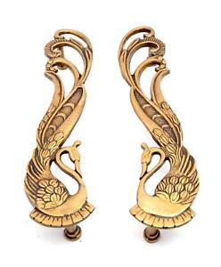 Peacock Design Brass Door Handle Pair Brass Statue Wall Decor Sculpture