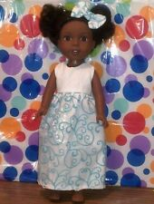 """14.5""""clothes -fit American Wellie Wishers-Princess Dress-Hair Bow-White Swirl"""