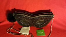 NWT Kate Spade New York Dress The Part Masquerade Mask Clutch Black Leather Bag