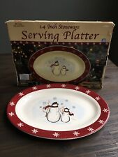 "Royal Seasons Stoneware SNOWMAN Oval 14"" Serving Platter EUC Christmas"