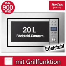 Amica Einbau Mikrowelle 60cm Edelstahl Mikro 700 W Timer Grill 900 W LED Display