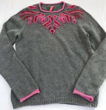 Hanna Andersson Women Small Gray Pink Embroidery Angora Blend Sweater Top