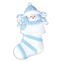 Baby Snowman In Blue Stocking Boy Baby's First Christmas Personalized Ornament
