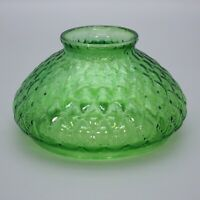 """Vintage 7"""" Fitter Green Quilted Diamond Light Glass Globe Parlor Oil Lamp Shade"""