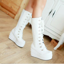 Fashion Women Lace Up Gothic Punk Wedge Heels Platform Knee High Motorcycle Boot