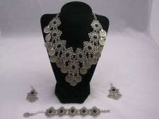 Vintage Design Silver Ottoman Style Necklace, Bracelet and Earrings Set 8005