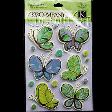 New listing K&Company Poppy Seed Butterfly Stickers Blue Green Paisley New Pack Butterflies
