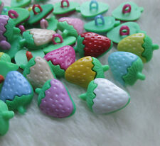 50pcs Strawberry Plastic Button backhole craft/sewing cute buttons lots mix F553