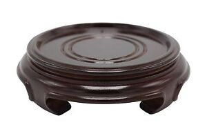 "Chinese Round Wooden Stand Base Dark Brown Reddish 2"" to 8"""