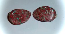 VINTAGE - CHUNKY RED, GREEN & SILVER *CONFETTI LUCITE* TEARDROP CLIP-ON EARRINGS