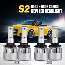 9005 9006 4PCS LED Total 240W 24000LM Combo Headlight High 6000K White Kit Bulbs