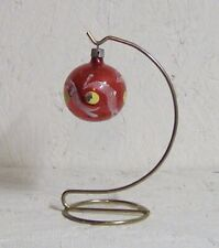 Vintage Poland Glass Ping Pong Ball Size Ornament | Red w/ White Flock & Yellow