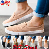 Women Comfort Casual Canvas Shoes Plimsolls Flats Slip On Loafers Sneakers Pumps