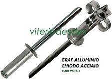 RIVETTI A FIORE FARFALLA GRAF D.4mm D.4,8mm IN ALLUMINIO CHIODO ACCIAIO ZINCATO