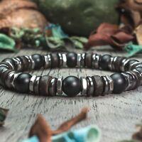 New Modèle Bracelet Homme perles pierre gemme Bois Coco Hématite Hexagone Inox