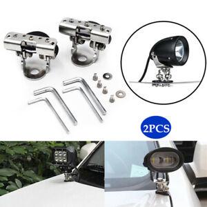 2PCS SUV Car Off-road ATV Stainless Steel Clamp LED Work Light Mount Bracket Kit