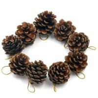 Pack of 9 Decorative Hanging Pinecone Christmas Tree Decorations O6F3