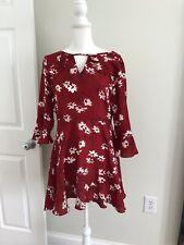 Boohoo Mini Floral Dress Red Size 2 Uk 6 Cute With Defect
